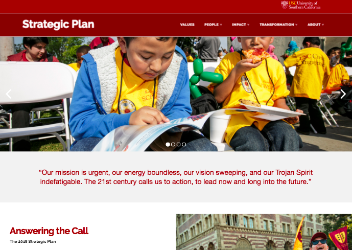 USC Strategic Plan Home Page
