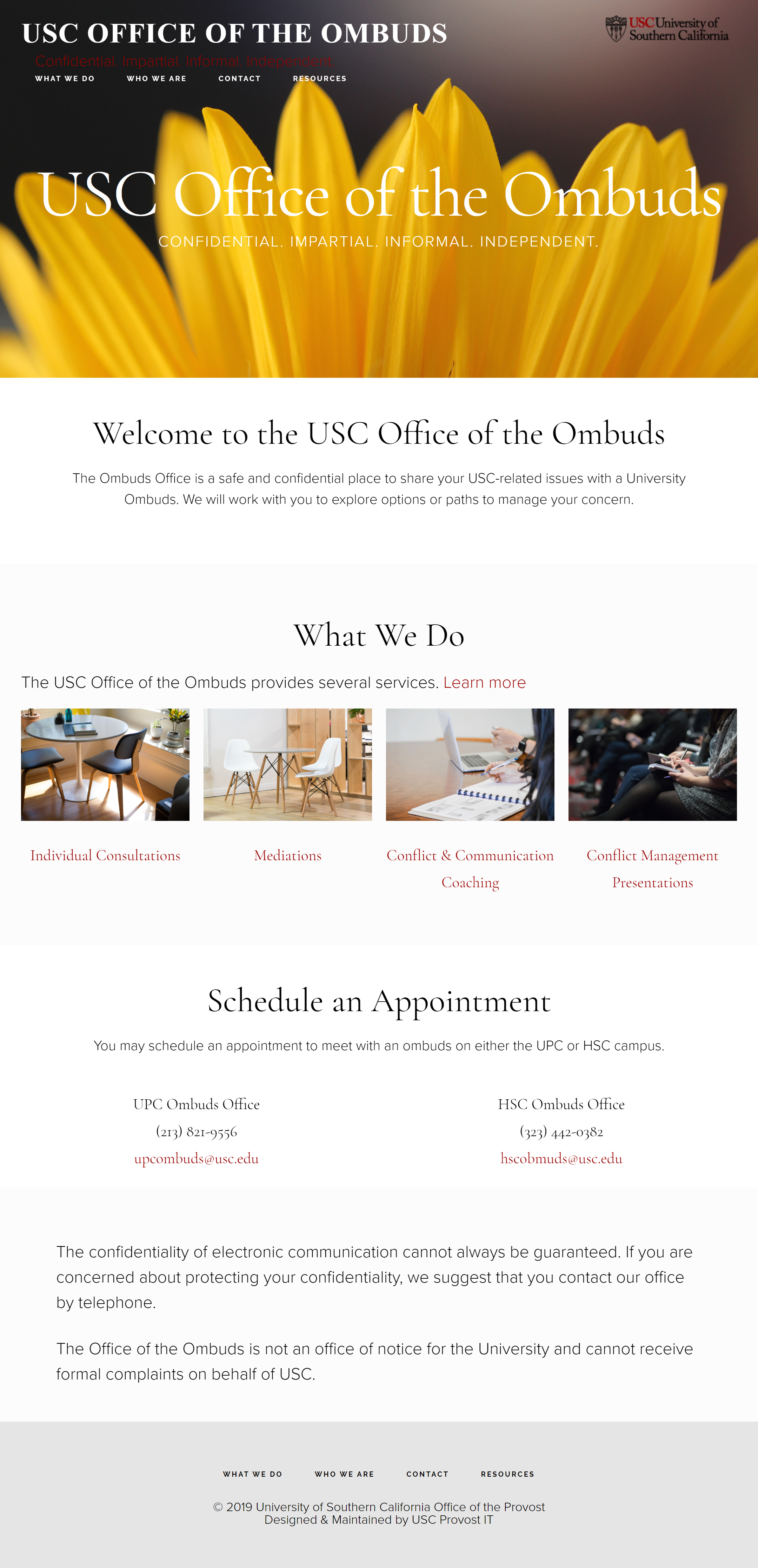 Full size image USC Office of the Ombuds Home Page